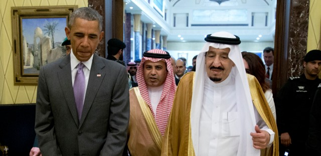 President Barack Obama and Saudi Arabia's King Salman walk together to a meeting at Erga Palace in Riyadh, Saudi Arabia, Wednesday, April 20, 2016. The president begins a six day trip to strategize with his counterparts in Saudi Arabia, England and Germany on a broad range of issues with efforts to rein in the Islamic State group being the common denominator in all three stops.