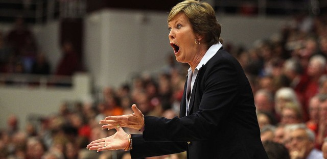 Tennessee Lady Volunteers head coach Pat Summitt argues with the referee during their game against the Stanford Cardinal on Dec. 20, 2011, at Maples Pavilion in Palo Alto, Calif.
