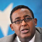 Somali Prime Minister Omar Abdirashid Ali Sharmarke speaks during a press conference in the United Nations Political Office For Somalia (UNPOS) compound in Nairobi, Kenya on Friday Oct. 23, 2009.