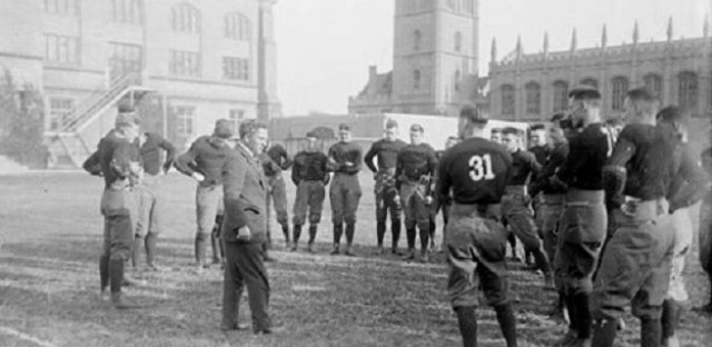 Coach Stagg at practice, 1916