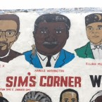 A portrait of Harold Washington and other pioneering African-Americans on the Wall of Respect mural at 47th and Champlain.