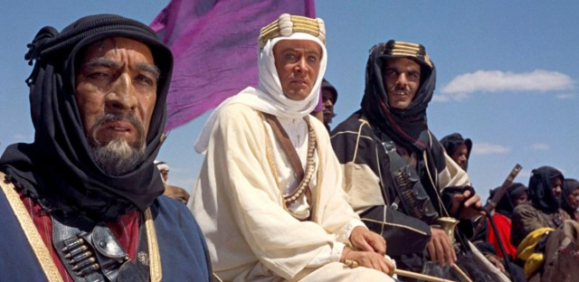 "From left to right: Anthony Quinn, Peter O'Toole and Omar Sharif in the 1962 film ""Lawrence of Arabia."""
