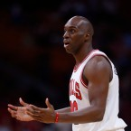Chicago Bulls guard Quincy Pondexter reacts after a play during the first half of an NBA basketball game against the Miami Heat, Wednesday, Nov. 1, 2017, in Miami. The Heat defeated the Bulls 97-91. (AP Photo/Wilfredo Lee)