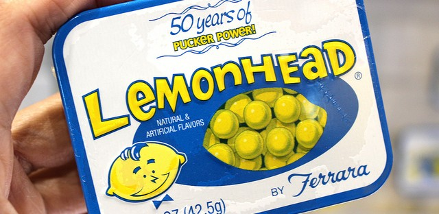 Limited edition nostalgic Lemonhead® tin at Sweets & Snacks Expo 2013 in Chicago