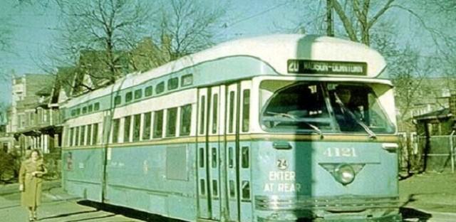 Green Hornet streetcar at Madison-Austin terminal, 1953