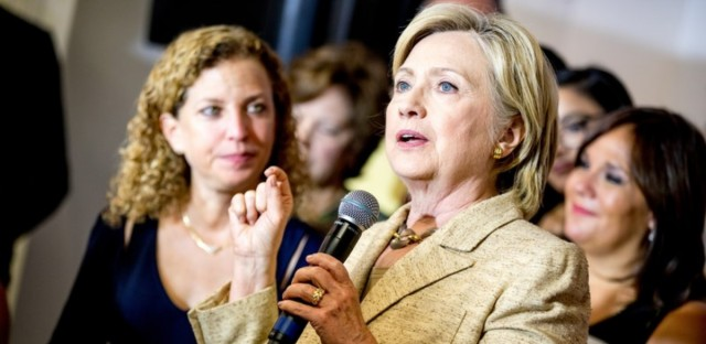Hillary Clinton campaigns alongside former Democratic National Committee Chair Debbie Wasserman Schultz, in August 2016.