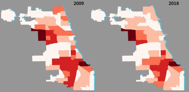 Number of housing vouchers by community areas over a decade.
