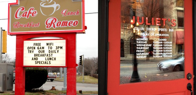 Romeo Cafe in Romeoville and Juliet's Tavern in Joliet are hints into the area's past lives.