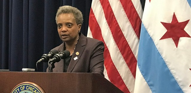 Chicago Mayor Lori Lightfoot following her first City Council meeting on May 29, 2019.