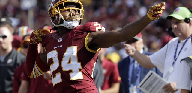 """Washington's cornerback Josh Norman was fined after he celebrated his interception with a """"bow and arrow"""" gesture during a 2016 game against the Cleveland Browns."""