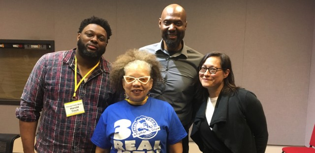 Harold Trinch (left) and Yvette Moyo (center) of Real Men Cook joined Worldview's Steve Bynum and Monica Eng in studio.