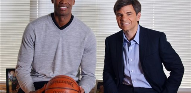 NBA basketball veteran Jason Collins, left, poses for a photo with television journalist George Stephanopoulos, Monday, April 29, 2013, in Los Angeles.