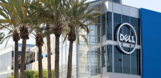 The Dell logo is displayed on the exterior of the new Dell research and development facility on October 19, 2011 in Santa Clara, California.