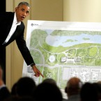 Former President Barack Obama speaks at a community event on his presidential center at the South Shore Cultural Center in Chicago.