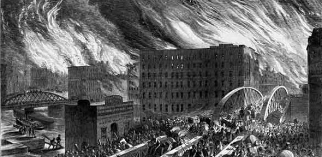 An artist's rendering of the Great Chicago Fire. The digital bootstrappers at tech startup hub 1871 say they're inspired by the risk-taking innovation that followed.