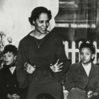 Pura Belpré became the first Puerto Rican librarian at the New York Public Library in 1921. She's shown above leading a story hour in the 1930s.