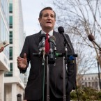 "Republican presidential candidate, Sen. Ted Cruz, R-Texas speaks to the media about events in Brussels, Tuesday, March 22, 2016, near the Capitol in Washington. Cruz said he would use the ""full force and fury"" of the U.S. military to defeat the Islamic State group. (AP Photo/Jacquelyn Martin)"