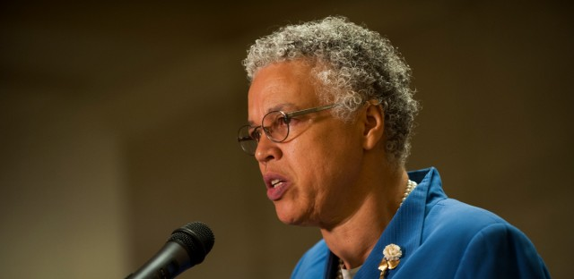 Cook County Board President Toni Preckwinkle speaks at City Hall last summer.