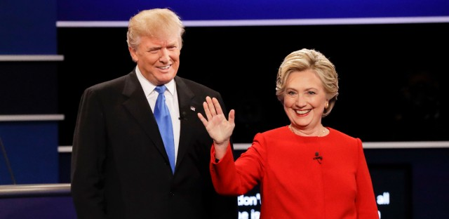 Republican presidential nominee Donald Trump and Democratic presidential nominee Hillary Clinton are introduced during the presidential debate at Hofstra University.