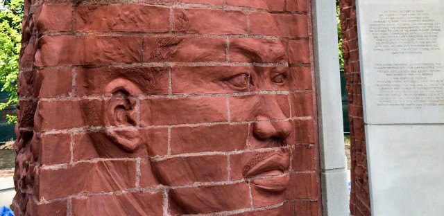 A detail of the MLK Memorial.