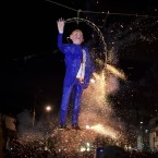 AFP/Getty ImagesMexicans set fire to an effigy of Donald Trump during Holy Week celebrations in Mexico City on March 26.