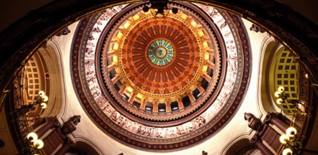 The rotunda inside the Illinois Capitol.