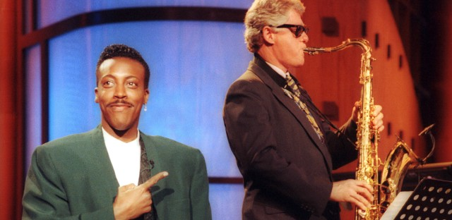 "Bill Clinton plays the saxophone during a campaign stop on ""The Arsenio Hall Show"" in Los Angeles June 3, 1992."