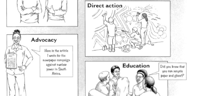 Example 4: A South African textbook depicts environmental activism.