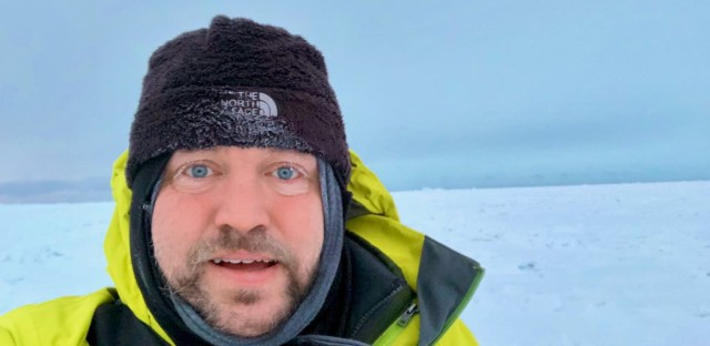Argonne National Lab atmospheric scientist Scott Collis takes a selfie while standing on the sea ice in Utqiagvik, Alaska on January 24, 2019. Photo courtesy of Scott Collis.