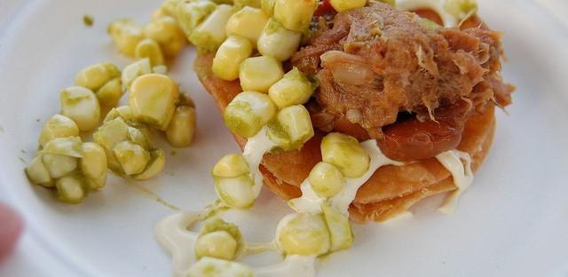 Goat tostada by Girl & the Goat chef Stephanie Izard with Pleasant Meadow Farm