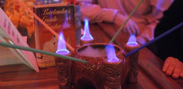 Flaming Tiki drink at The Whistler