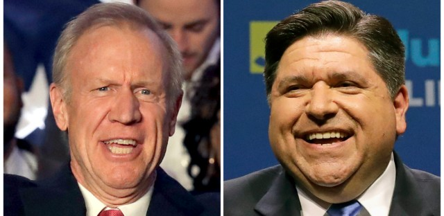 This combination of March 20, 2018, file photos shows Illinois Republican Gov. Bruce Rauner, left, and J.B. Pritzker, his Democratic challenger in the November election.