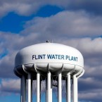 The Flint Water Plant water tower is seen in Flint, Mich. on March 21, 2016.