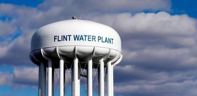 The Flint Water Plant water tower is seen in Flint, Mich. on March 21, 2016.