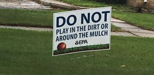 A sign at the West Calumet Housing Project in East Chicago, Indiana warning people about the lead contamination.