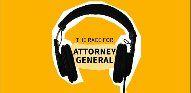 """An image of headphones cut out with the words """"The Race For Attorney General"""" in between them"""