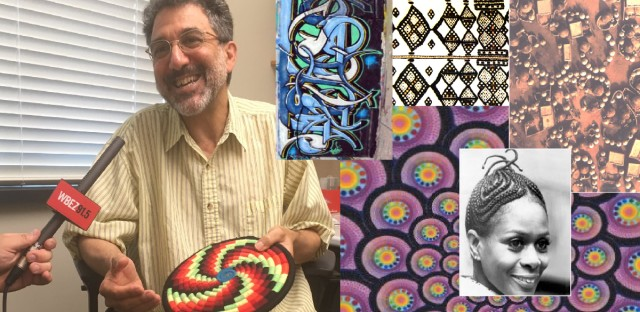 Ron Eglash in his office, alongside examples of fractals he's studied.