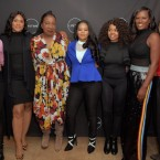 From left: Lizzette Martinez, Andrea Kelly, Lisa Van Allen, Tarana Burke, Kitti Jones, Jerhonda Pace, Asante McGee and Gretchen Carlson, photographed prior to a screening of the Lifetime series Surviving R. Kelly on Dec 4, 2018 in New York. The event was evacuated after multiple anonymous threats were made. Chance Yeh/Getty Images for A+E