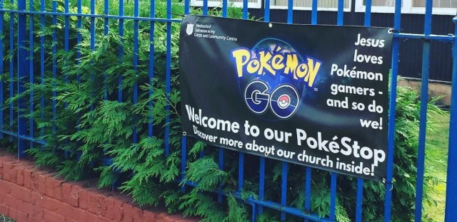"""""""Jesus loves Pokémon gamers,"""" is printed on a sign outside of a Salvation Army in the UK."""