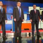 Presidential candidates (left-right) Marco Rubio, Donald Trump, Ted Cruz and John Kasich at last week's Republican presidential debate. Geoff Robbins/AFP/Getty Images