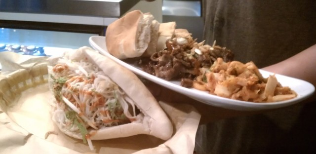 Asian meatball and Kogi beef platter at Belly Shack.
