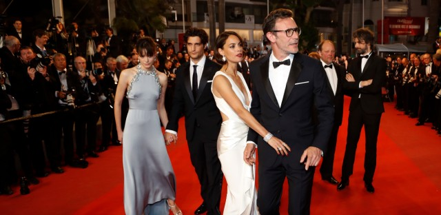 Director Michel Hazanavicius, from right, actors Berenice Bejo, Louis Garrel and Stacy Martin pose for photographers upon arrival at the screening of the film Le Redoutable at the 70th international film festival, Cannes, southern France, Sunday, May 21, 2017. (AP Photo/Thibault Camus)