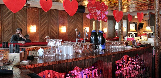 Valentine's Day decorations behind the bar at Marie's Pizza and Liquors in Chicago