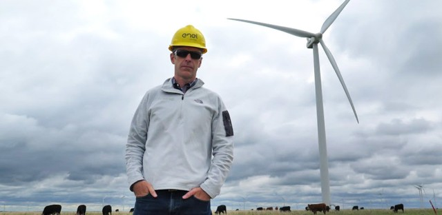 Matt Gilhousen, founder of Tradewind Energy, at Caney River Windfarm located 75 miles southeast of Wichita, Kan. Gilhousen's business benefited from Obama's $833 billion American Recovery and Reinvestment Act.