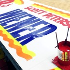 Hand painted signs in progress at Southwest Signs.