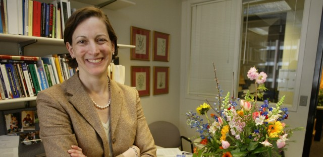 "Anne Applebaum poses for a photograph at her office at the Washington Post after being awarded the Pulitzer Prize for general nonfiction for her book ""Gulag: A History"" on Monday, April 5, 2004."