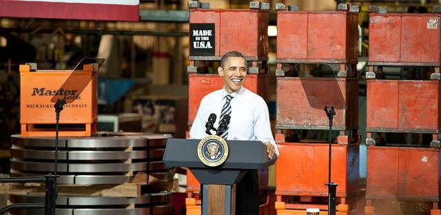 President Obama speaks at a MasterLock factory in February