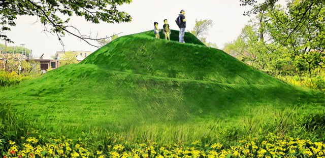 This artist's rendering shows the planned effigy mound in Horner Park. The mound will be part of an outdoor museum of Native American history in Chicago.