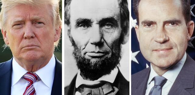 (Left to right) Donald Trump, Abraham Lincoln and then vice presidential-candidate Richard Nixon