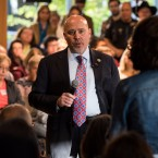 Rep. Tom MacArthur, R-N.J., speaks to constituents during a town hall meeting in Willingboro, N.J. on May 10, 2017. MacArthur wrote a key amendment to the American Health Care Act.